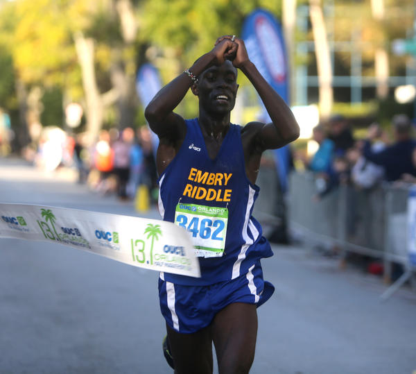 With a time of 1:09:06, Evans Kirwa, 23, from Daytona Beach, Florida, wins the Men's Group of the OUC Half Marathon which took place in downtown Orlando, Florida on Saturday, December 1, 2012.