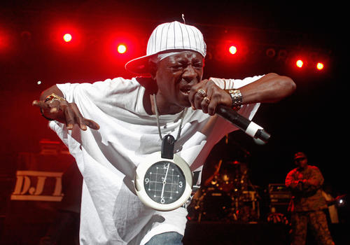 Flavor Flav of Public Enemy performs at The Liacouras Center at Temple University in Philadelphia on November 30.