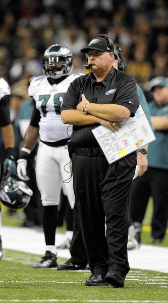Philadelphia Eagles head coach Andy Reid looks on from the sidelines against the New Orleans Saints during second quarter of their game at the Mercedes-Benz Superdome on November 5, 2012.