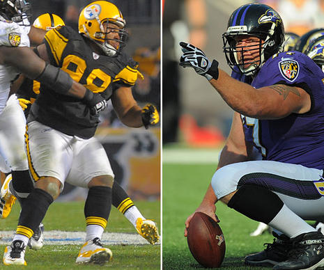 Hampton, left, is a load and can dominate the middle against the run. When the Ravens played Pittsburgh two weeks ago, they couldn't run inside. Birk, right, is too small to handle Hampton by himself, so look for him to get a lot of help from guards Jah Reid or Marshal Yanda. The Ravens might be better off attacking the perimeter even though the Steelers have a lot of speed. <b>Edge: Steelers.</b>