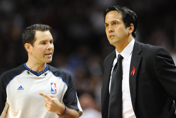 Heat head coach Erik Spoelstra was not happy with the officials in the first half against the Nets.