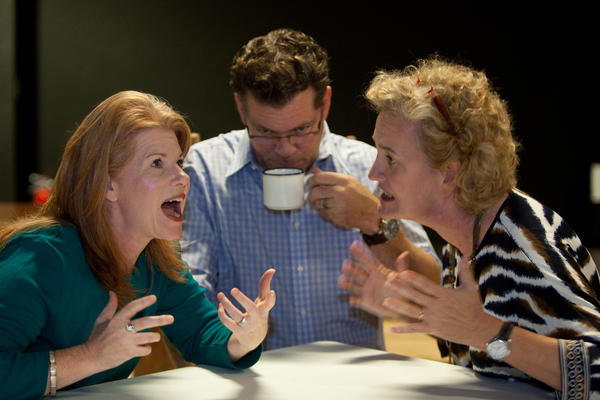 "Elizabeth Dean (from left), Stephan Jones and Peg O'Keef share a dysfunctional moment in ""August: Osage County."""