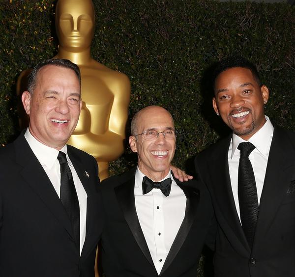 Producer Jeffrey Katzenberg, center, received the Jean Hersholt Humanitarian Award. Tom Hanks, left, and Will Smith are pictured with him on the red carpet of the Academy of Motion Picture Arts and Sciences' fourth annual Governors Awards at Hollywood & Highland.