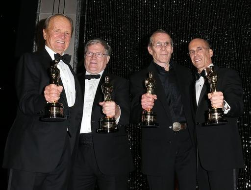 Honorees George Stevens Jr., left, D.A. Pennebaker, Hal Needham and Jeffrey Katzenberg attend the Academy of Motion Picture Arts and Sciences' fourth annual Governors Awards.