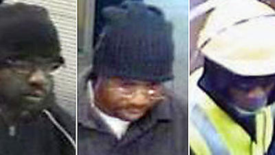"Surveillance photos of a man dubbed the ""Stringer Bell Bandit."""