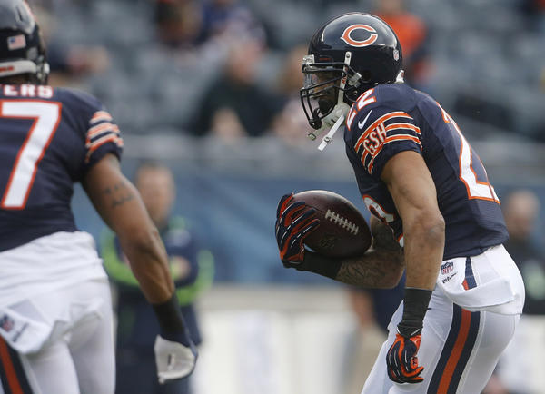 Chicago Bears running back Matt Forte (22) warms up before the game against the Seattle Seahawks on Sunday at Soldier Field.