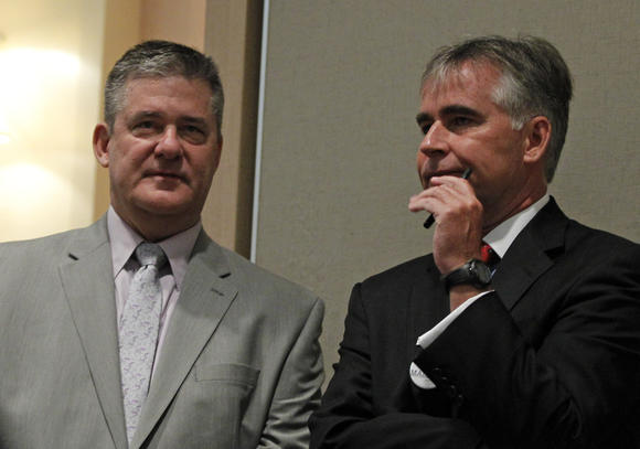 State Treasurer Dan Rutherford (left) and state Republican Party Chairman Pat Brady this summer. Brian Cassella, Chicago Tribune