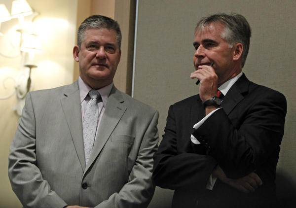 State Treasurer Dan Rutherford (left) and state Republican Party Chairman Pat Brady speak Aug. 29, 2012 at an Illinois GOP breakfast during the Republican National Convention. Brian Cassella, Chicago Tribune