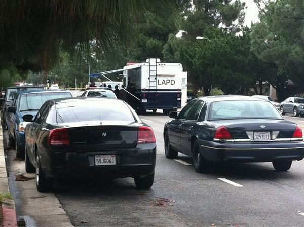 Police at crime scene in Northridge.
