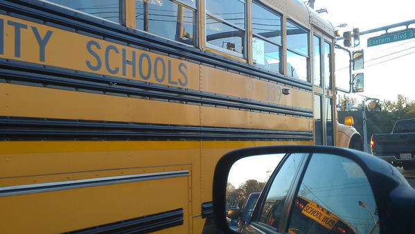 A school bus is shown on the road Wednesday.