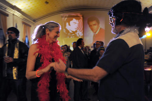 Patsy Allen of Baltimore dances with Freddy Smolen of Rockville during the annual Night of 100 Elvises at Lithuanian Hall on Friday.