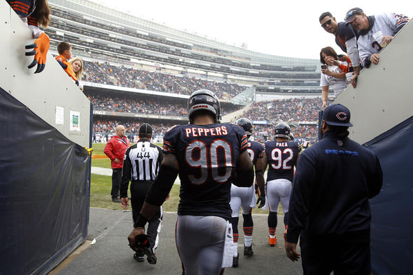 Like his teammates, Bears defensive end Julius Peppers was practically speechless after the team's loss in overtime to Seattle on Sunday at Soldier Field.