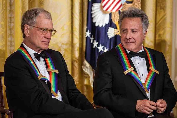 David Letterman, left, and Dustin Hoffman were among the Kennedy Center Honors recipients who were presented with their medallions on Saturday night ahead of the gala on Sunday.