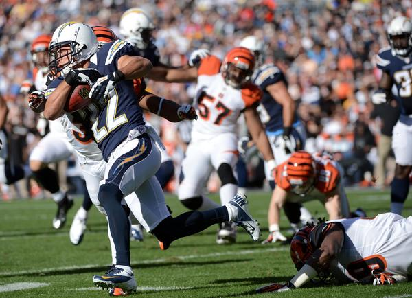 Chris Carr #22 of the San Diego Chargers returns the ball against the Cincinnati Bengals on December 2, 2012 at Qualcomm Stadium in San Diego, California. Cincinnati won 20–13.