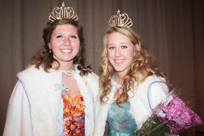 The Warner Snow Queen competition took place Nov. 11. Paige Tooker, left, won the senior division and Logan Ellingson, right, won the junior division. Paige is the daughter of Lynette and Jason Messerole of Warner. Logan is the daughter of John and Nicole Ellingson of Stratford. Paige and Logan will advance to the state Snow Queen competition in Aberdeen in January.
