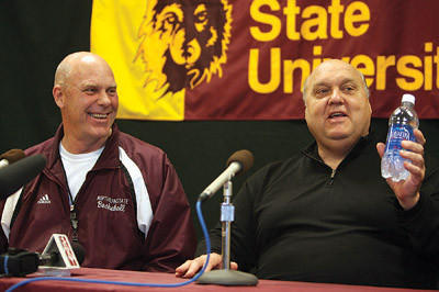 Former Northern State men¿s basketball coach Don Meyer, left, laughs as former men¿s college basketball coach Rick Majerus tells a story when Majerus was the guest clinician at the Don Meyer Coaching Academy at NSU in 2007. Majerus died Saturday of heart failure in a Los Angeles hospital. American News File Photo by John Davis