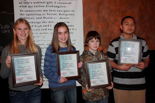 Students from Simmons and Holgate middle schools were honored with the Aberdeen Exchange Club's Citizenship Award during the month of Octobercq. From left are Morgan Grau, Abby Brennan, Hunter Nilson and Peni Mounga. All are in the sixth grade. Morgan and Peni attend Simmons Middle School, and Abby and Hunter are students at Holgate Middle School.