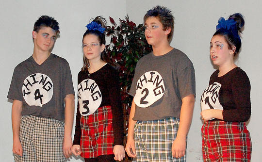 "Holgate Middle School students put on two performances of ""The Seussification of Romeo and Juliet"" by Peter Bloedel on Nov. 15-16. From left are Dominic Meyers, Abby Otten, Andrew Beringer and Julia Friedrichsen. The four students narrated the play."