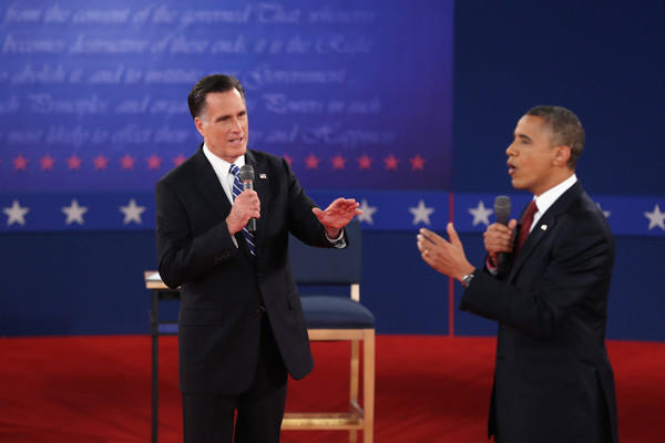 Year in Review: News of 2012: Republican presidential candidate Mitt Romney, left, and President Obama participated in a town hall style debate on Oct. 16.