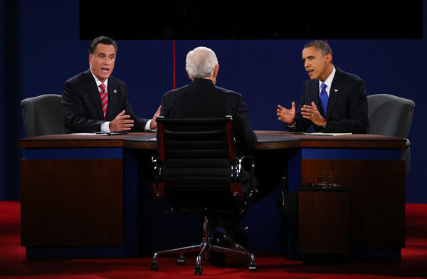 Year in Review: News of 2012: President Obama, right, and Republican presidential candidate Mitt Romney participated in the third and final presidential debate on Oct. 22 as Bob Schieffer of CBS acted as moderator.