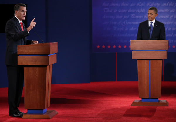 Year in Review: News of 2012: President Obama, right, and Republican presidential candidate Mitt Romney participated in the first presidential debate on Oct. 3.