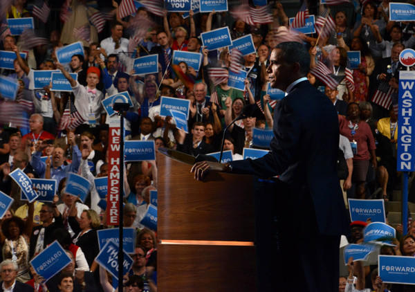 President Obama addresses supporters at the Democratic National Convention in Charlotte, N.C. on Sept. 6.