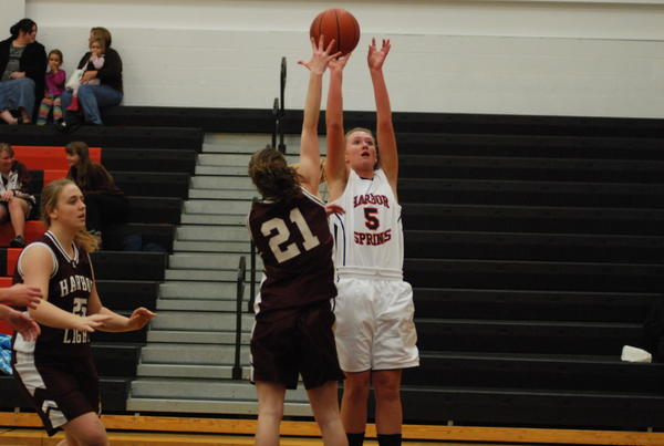 Harbor Springs junior forward Stephanie Sylvain (right) had a game-high 18 points and four rebounds as Harbor Springs improved to 2-0 on the season with a 40-22 victory over Buckley Saturday at Kingsley High School during the Northwest Conference-Lake Michigan Conference Crossover Challenge.