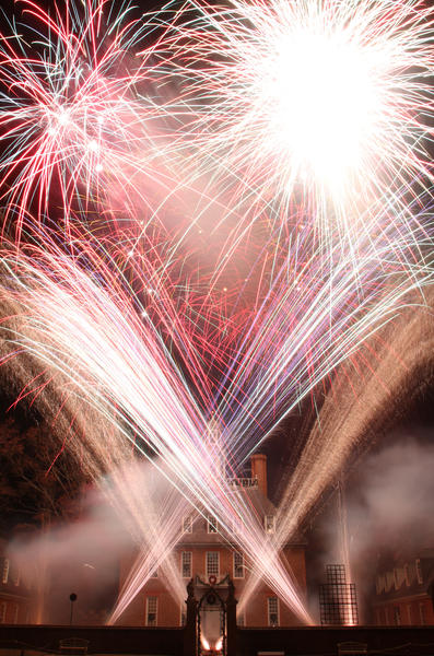 Fireworks erupt in front of the Palace at Colonial Williamsburg's 78th Annual Grand Illumination on Sunday evening.