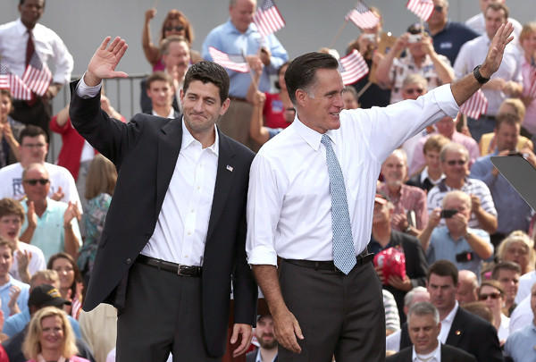 Republican presidential candidate Mitt Romney, right, introduced U.S. Rep. Paul Ryan as his vice presidential running mate in front of the USS Wisconsin on Aug. 11 in Norfolk, Va.
