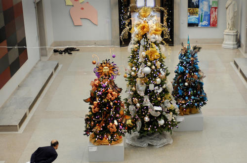 This trio of trees in the Morgan Hall are sponsored by Macy's.