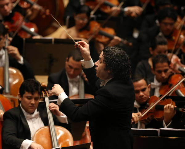 Conductor Gustavo Dudamel and the Simon Bolivar Symphony Orchestra of Venezuela, performing at Symphony Center on Sunday.