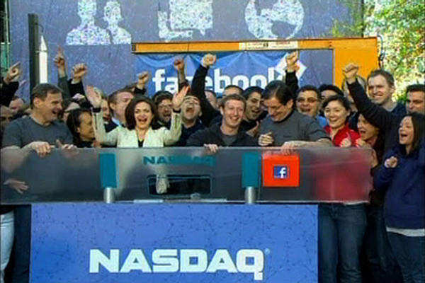 Year in Review: News of 2012: Facebook went public at $38 a share on May 18, the largest IPO ever for a tech company. However, share prices quickly plummeted.
