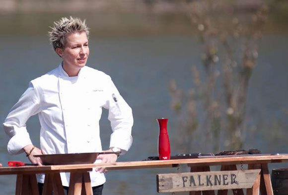 "Chef Elizabeth Falkner on Season 4 of the Food Network's ""Next Iron Chef."""