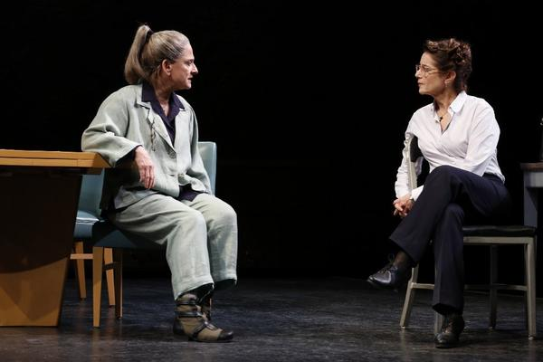"Patti LuPone, left, and Debra Winger in a scene from David Mamet's new play ""The Anarchist,"" which opened this week at the John Golden Theatre in New York."