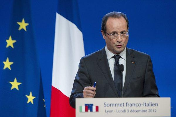 French President Francois Hollande holds a joint news conference with Italian Prime Minister Mario Monti (not shown) after a working lunch during the French-Italian Summit in Lyon, France, on Monday.