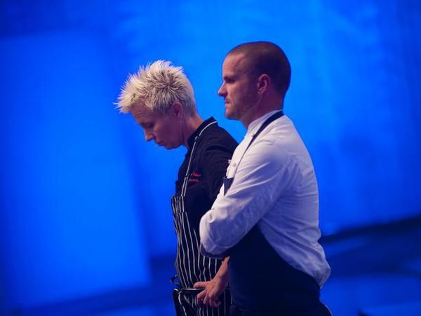 "Chef Elizabeth Falkner, left, gets bad news as she stands alongside Nate Appleman on the ""Next Iron Chef"" chopping block."