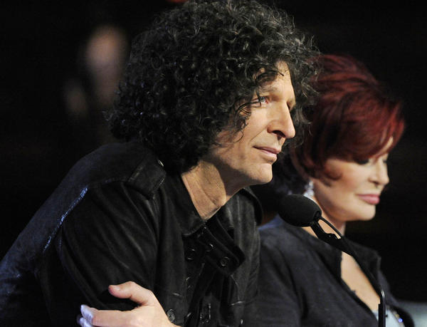 "Howard Stern and Sharon Osbourne during a taping of ""America's Got Talent."""