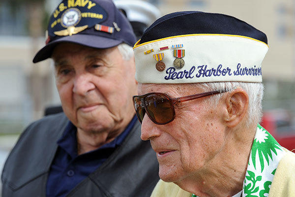 WWII veteran Dave Epstein (left) and Pearl Harbor Survivor Edward Hammond during a ceremony commemorating the 71st anniversary of the attach on Pearl Harbor.