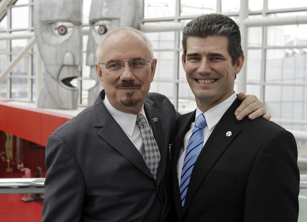 Terry Stewart, left, will hand over the reins at the Rock and Roll Hall of Fame in Cleveland to new President and CEO Gregory S. Harris.