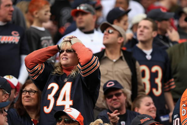 A Bears fan reacts after wide receiver Earl Bennett dropped a sure touchdown pass Sunday against Seattle at Soldier Field. (Chris Sweda/Tribune)