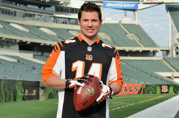 "Nick Lachey visits Paul Brown Stadium, home of the Cincinnati Bengals, to promote Tide's ""Show Us Your Colors"" campaign."