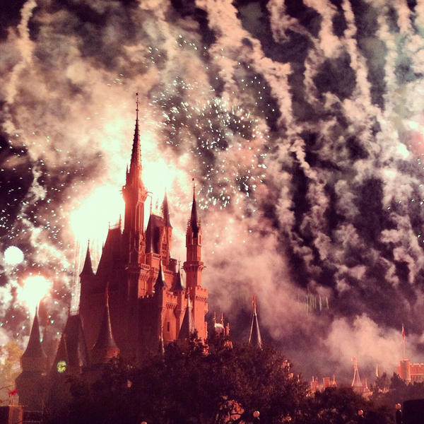 Fireworks loom ominously during Mickey's Not-So-Scary Halloween Party at Walt Disney World's Magic Kingdom. <b>#thedailydisney</b>