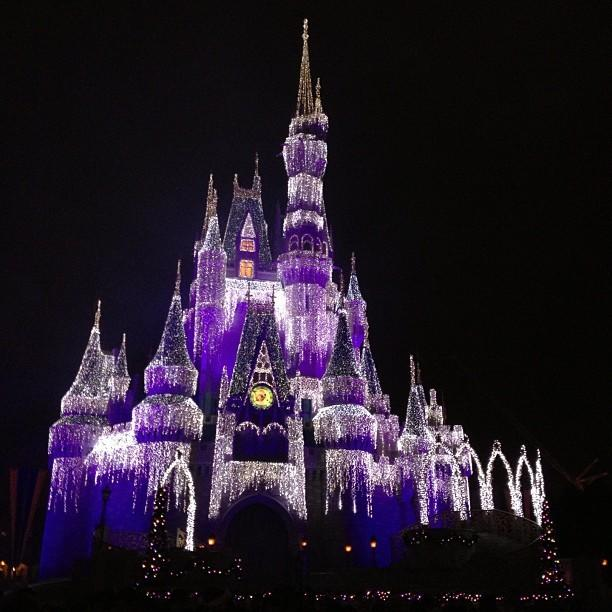 Cinderella Castle is all lit up for the holidays during Mickey's Very Merry Christmas Party at the Magic Kingdom. <b>#thedailydisney</b>