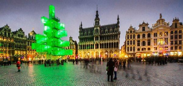 """Xmas 3"" amid the centuries-old facades of La Grand-Place square, a UNESCO World Heritage site composed of architecturally eclectic buildings."