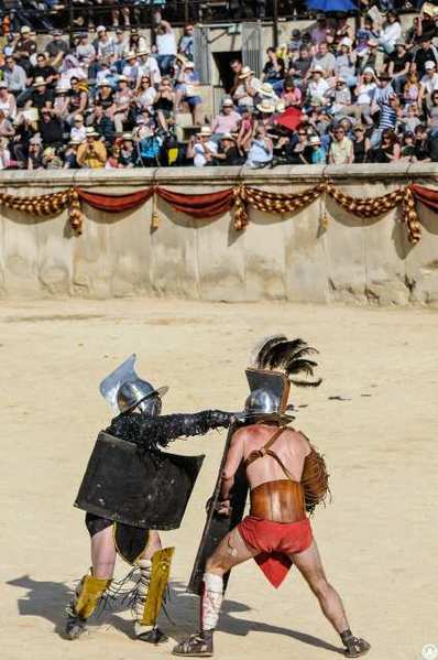 "A scene of live gladiator contests from ""Spartacus and the Roman Legion,"" a historical reenactment with live fighting, presented Dec. 15-16 at the Equestrian Center in Burbank."