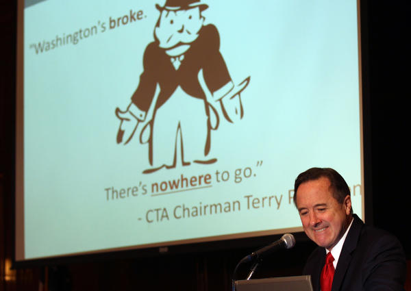 CTA President Forrest Claypool speaks at the City Club of Chicago luncheon today  at Maggiano's Banquets, 111 W. Grand Ave. Michael Tercha, Chicago Tribune