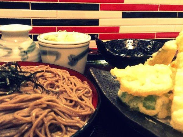 Soba (buckwheat noodles) and shrimp and vegetable tempura at the newly opened Soba Sojibo on Sawtelle.