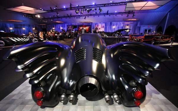 "Rear fins of the Keaton Batmobile, from the Michael Keaton-starring ""Batman"" years (1989 and 1992)."