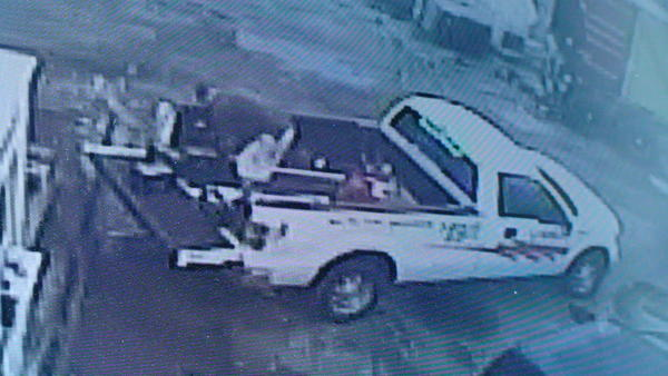 Theft suspect seen off-loading batteries from rental truck