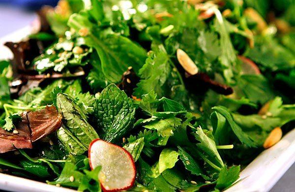 Fresh herb salad with seeds.